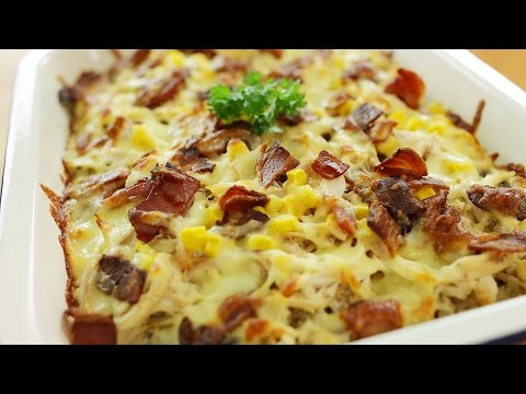 Chicken and Bacon Bake Rice - 烤鸡培根焗饭