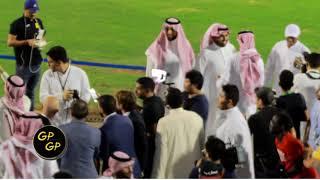طرب الرابطة والجمهور مع رئيس النادي نواف المقيرن والمدرب دياز