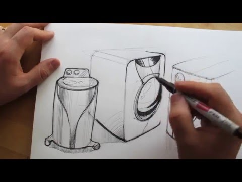 How to draw. Product Design Sketching. Washing Machine Design
