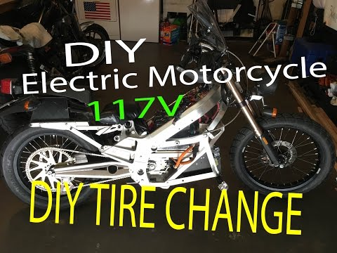 DIY Electric Motorcycle with 117V - Mounting Tires