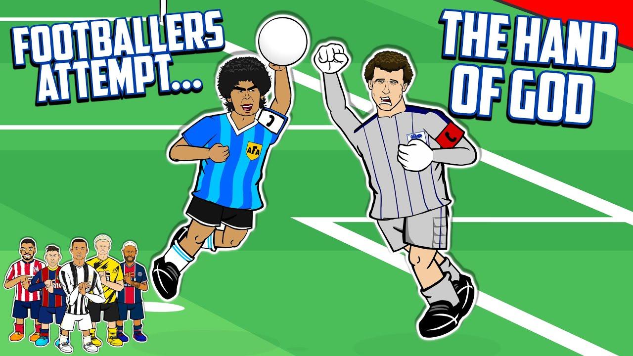✊Footballers Attempt The Hand of God✊ Ronaldo Messi Neymar +more! (Maradona vs England Frontmen 2.8)