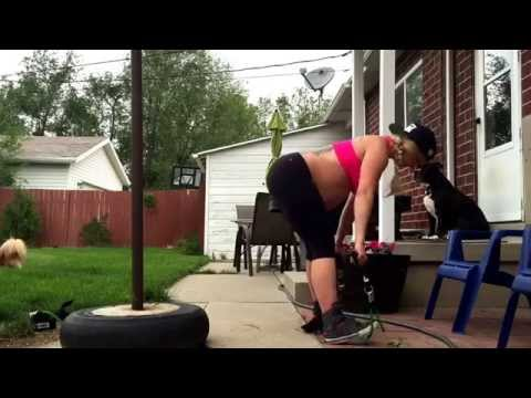 Home leg workout during pregnancy with resistance bands