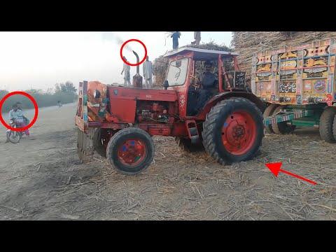 Power of Dangerous Belarus 510 Tractor Stunt & Pulling Heavy Sugarcane Load with 8 Wheeler Trailer
