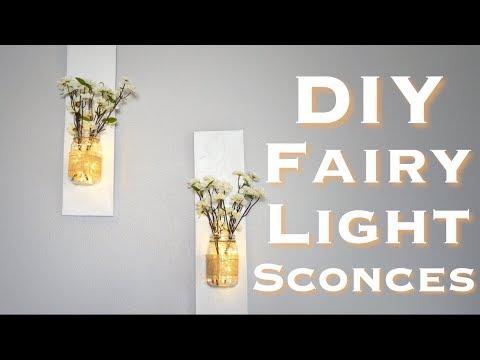 DIY RUSTIC MASON JAR SCONCES with FAIRY LIGHTS | Under $10