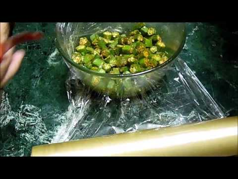 Bhindi in Microwave - (Okra in Microwave) - Quick and easy
