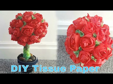 DIY Tuiess paper Roses | How To Make a Paper Rose Topiary | paper roses | tissue paper craft 2018