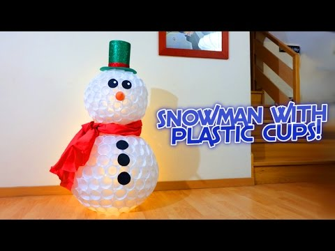 Snowman with plastic cups | Christmas crafts