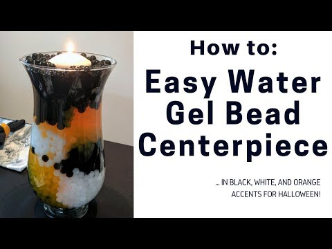 Easy Water Gel Bead Centerpiece for Halloween - Black, White, and Orange