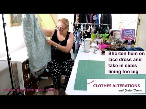 Shorten lace dress and take in sides