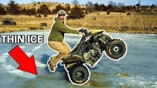 DRIVING My MINI ATV on the FROZEN BACKYARD POND!! (Bad Idea)