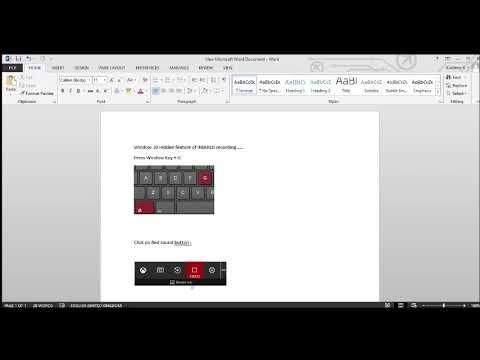 Window 10 hidden feature of screen recording
