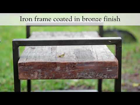 Reclaimed Wood And Iron Outdoor Bench SKU# 38330 - Plow & Hearth