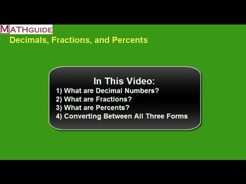 Converting Decimals, Fractions, and Percents