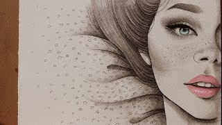 #x202b;تعليم الرسم : كيف ترسم نصف بورتريه لفتاه مع نمش وعيون زرقاء ~ دمج اقلام الرصاص والخشب المائي#x202c;lrm;