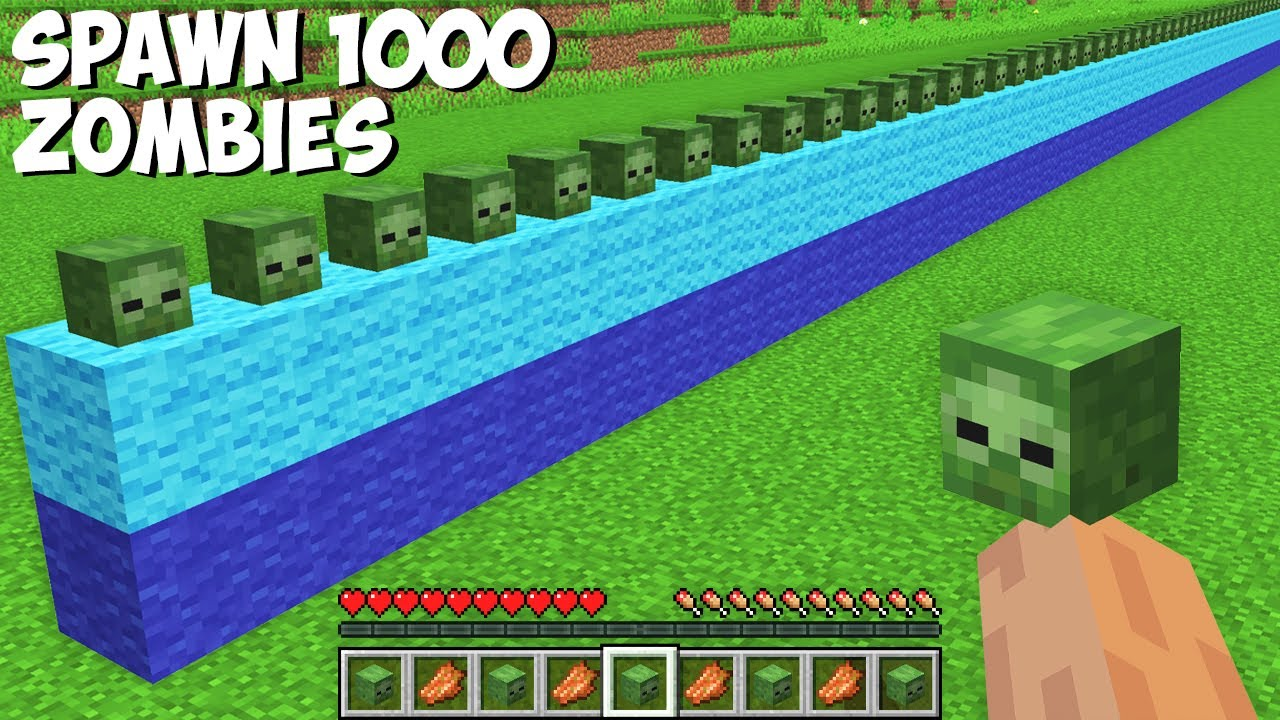 You CAN SPAWN 1000 ZOMBIES AT ONCE in Minecraft ! HOW TO SUMMON ZOMBIES ARMY !