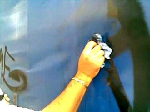 Removing 5 Year Old Graffiti off a Truck Vinyl Curtain with Graffiti Rid GR007