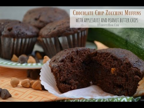 Recipe for Cooking ~ Chocolate Chip  Zucchini Muffins with applesauce and peanut butter chips