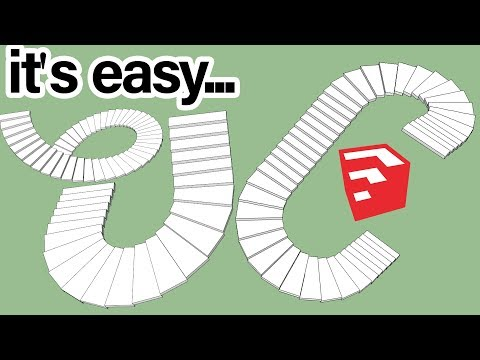 Super Easy Way To Make Curved Stair In SketchUp