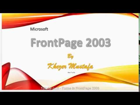 FrontPage 2003. How to create Forms. Tutorial no. 8 for Beginners in Hindi/ Urdu
