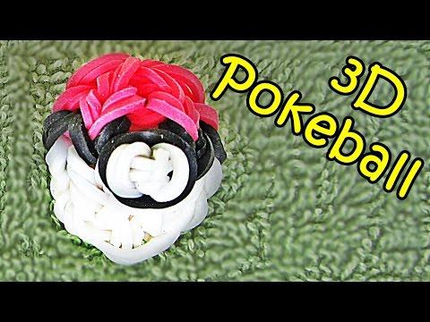 3D Pokeball Rainbow Loom Charm - How to make with Loom bands (Pokemon)