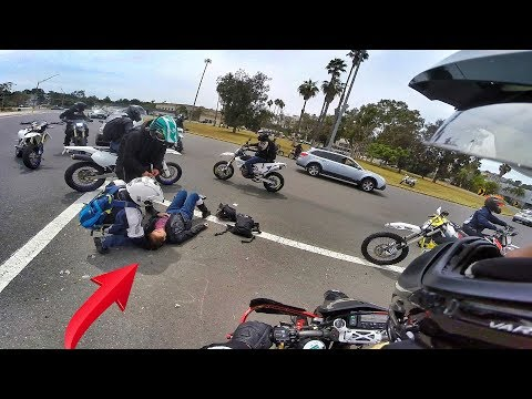 SUPERMOTO RIDER GOES DOWN WITH GIRLFRIEND!