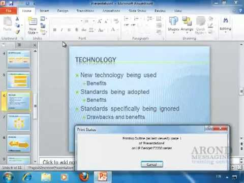 Using PowerPoint 2010 - Print the Outline Only