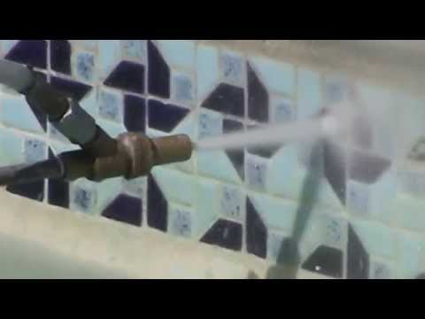 INSTRUCTION 23. Pool Tile Cleaning Demo 2.  Mr. Hard Water Pool Tile Cleaning Blast Kits