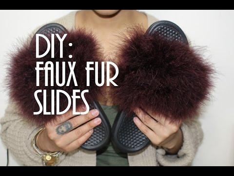 DIY: Faux Fur Nike Slides