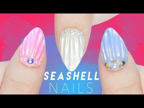 3D Pearl Seashell Nails Using Soak Off Gel!