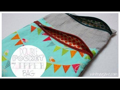 Double Pocket Lined Zipper Bag {EASY}   Whitney Sews