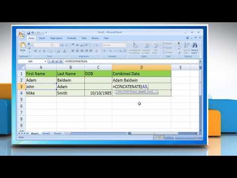 CONCATENATE Function in Excel 2007