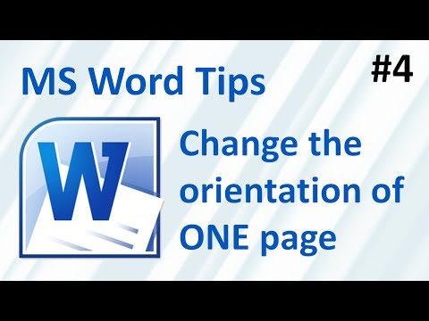 MS Word: how to change the orientation of ONE page