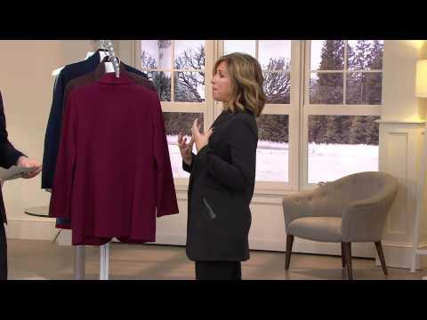 Susan Graver Soho Ponte Boyfriend Jacket w/ Faux Leather Trim with Jennifer Coffey