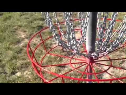 In step disc golf basket, modified