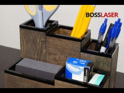Laser Cut Wood & Acrylic Desktop Organizer - Free File Download