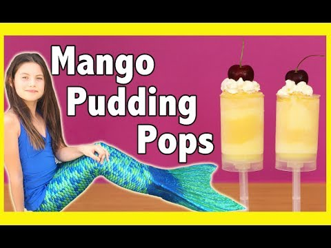 MANGO PUDDING POPS! Frozen Ice lolly treats for kids!  Plus we take our mermaid fins to the beach!