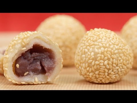 Sesame Balls Recipe (Chinese Dessert Jian Dui / Goma Dango) | Cooking with Dog
