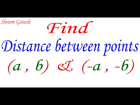 Find distance between points ( a , b ) & ( -a , -b ) using the distance formula
