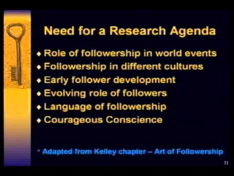 Ira Chaleff: Tobias Center 4 Followership Research Agenda (2009)