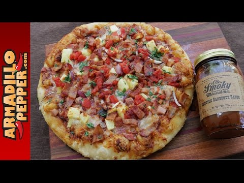 Grilled Hawaiian Chipotle-BBQ Pizza with Ole Smoky Tennessee Moonshine BBQ Sauce