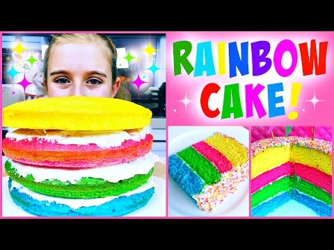 Super Easy DIY Rainbow Cake - So Easy Kid's Can Make It!
