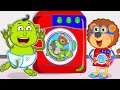 Lion Family Pretend Play With Toy Washing Machine Cartoon For Kids
