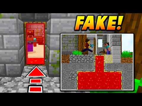 FAKE DOOR LAVA PIT TRAP! - Minecraft BATTLE ROYALE TROLLING (FORTNITE TRAP?)