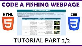 Code a Fishing Web Page Using HTML \u0026 CSS (Part 2/2)