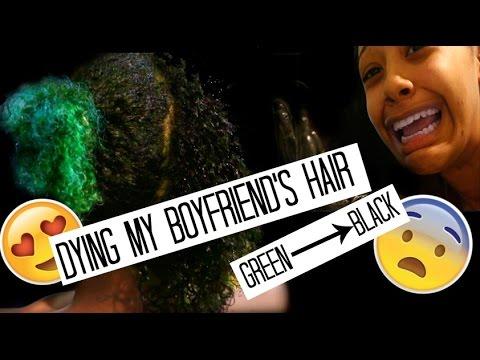 GREEN TO BLACK! Dying my BOYFRIEND'S HAIR.