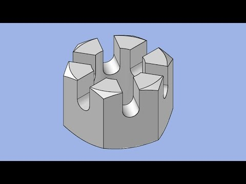 Making M10 Metric slotted Nut in AutoCAD 3D