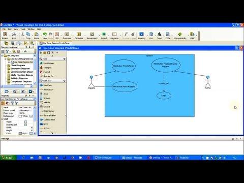 Tutorial UML - Use Case Diagram Pendaftaran (Perpus) Part 1 | Visual Paradigm