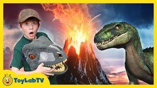 Jurassic World Fallen Kingdom Volcano Adventure Dinosaur Skit! Giant Life Size T-Rex & Toy Dinosaurs