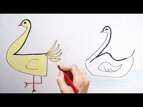 Come disegnare una papera o un cigno per bambini partendo dal numero 2