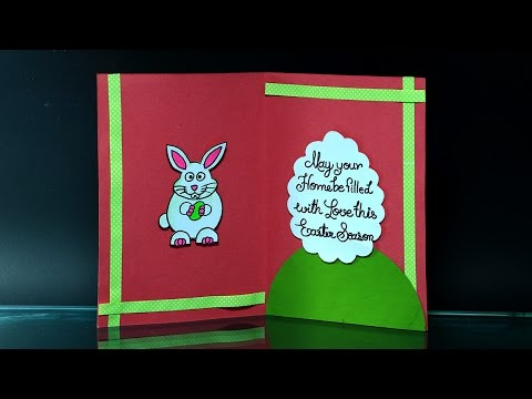 DIY Easter Cards - How to Make Easter Card With Bunny and Eggs